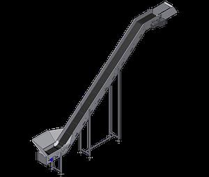 Incline belt conveyor with hopper