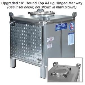 TranStore Beverage Tank with Hinged Handwheel Top Manway & Bronze Package, 250 Gallon
