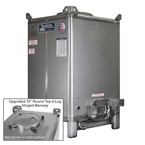TranStore Storage & Fermentation Tank with Hinged Handwheel Top Manway & Silver Package, 550 Gallon